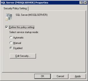 GPO SQL Server Service Settings